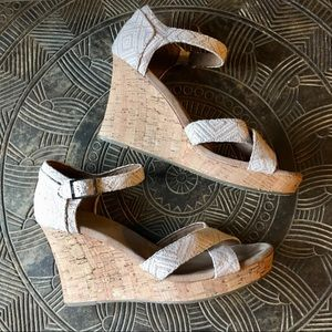 TOMS Sienna Wedge Sandals Woven Diamond Cream 10
